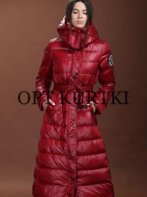 красная длинная женская куртка